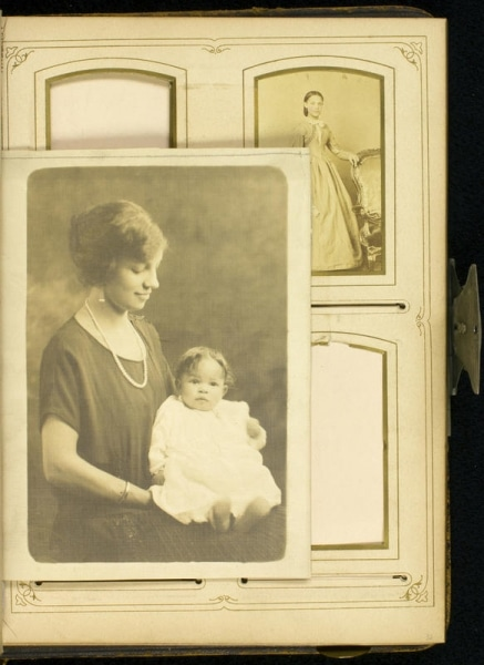 Portrait photograph of Cordelia Chew Hinkson and her daughter Cordelia Hinkson Brown inserted before page 32 of Stevens-Cogdell/Sanders-Venning Family Photograph Album, ca. 1860-1925.
