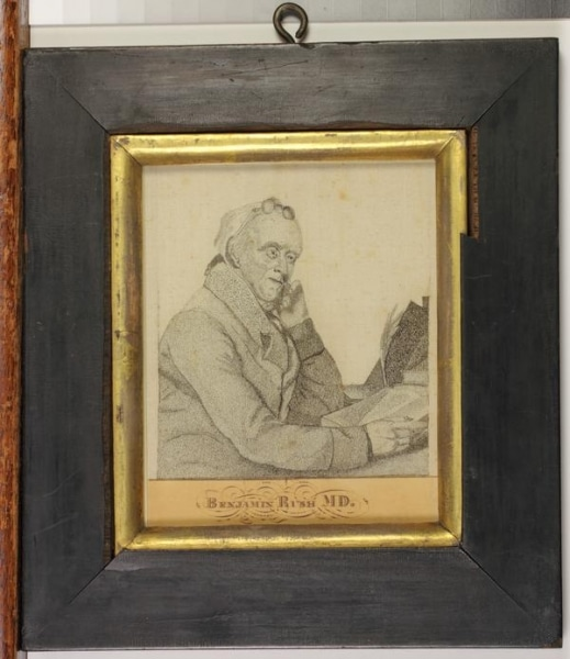 Portrait of Benjamin Rush on silk gifted to the Library Company in 1869 by James Rush