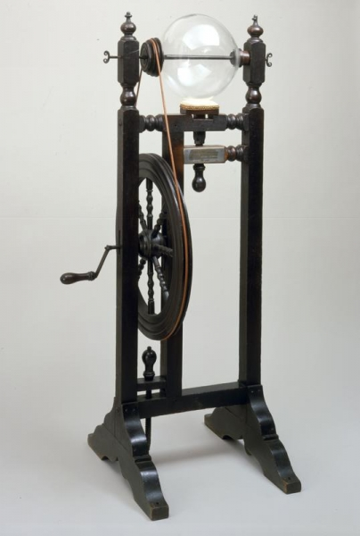 The Electrical Machine is a static energy generator that works by rubbing the leather pad against the spinning glass globe to produce a static electrical charge in the globe. Franklin owned this apparatus and used it in his experiments and demonstrations.