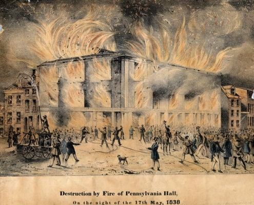 J.C. Wild, Destruction by Fire of Pennsylvania Hall, hand-colored lithograph (Philadelphia, 1838). Library Company digital collections. During the fire, showing the fire companies' refusal to train their hoses on the fire.