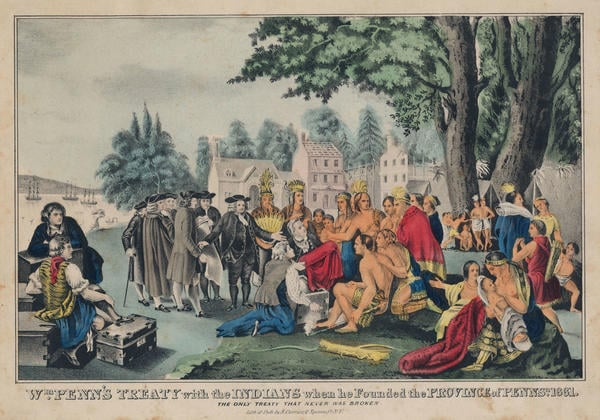 Nathaniel Currier, Wm. Penn's Treaty with the Indians, when he Founded the Province of Pennsa. 1681 : The Only Treaty that was Never Broken (New York: Lith. & pub. by N. Currier, ca. 1845). Hand-colored lithograph.