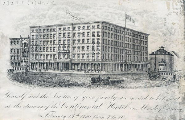 Invitation to the opening of the Continental Hotel including an exterior view of the building