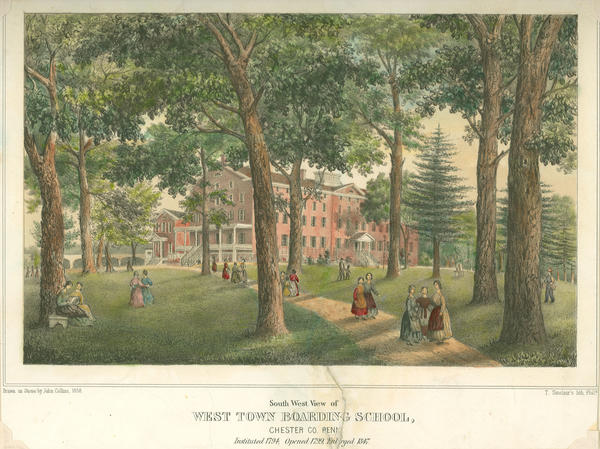 John Collins, South East View of West-town Boarding School. Chester Co. Penna. (Philadelphia: T. Sinclair's lith., 1858). Hand-colored lithograph. Westtown School Archives.