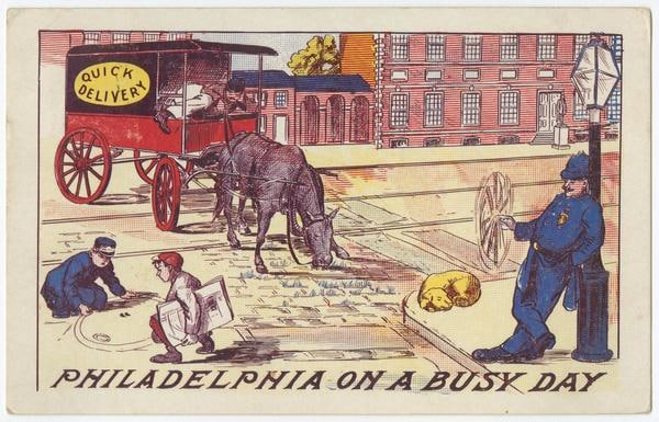 "Depicts a ""Quick Delivery"" truck standing in the middle of the street, the driver napping and the horse eating grass from the street. A cop leans on a lamppost and twirls his nightstick. Children play marbles in the street, and a dog sleeps. The building in the background resembles Independence Hall."