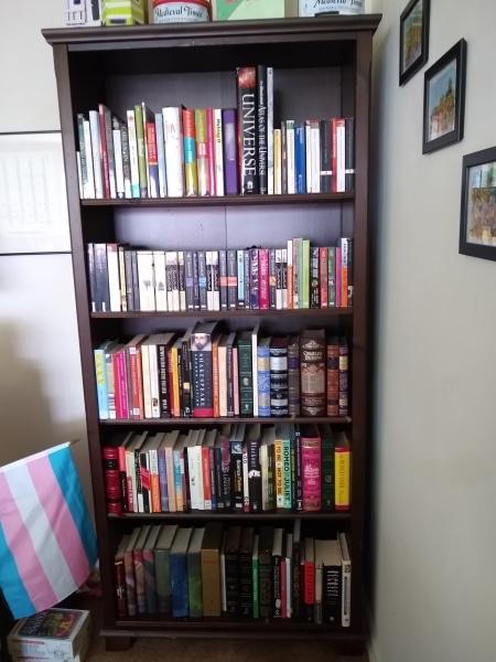 LCP Cataloger Em Ricciardi's book shelf arranged with the LCP system