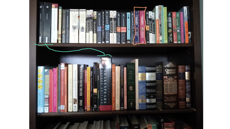 Detail of LCP cataloger Em Ricciardi's book-shelf arranged with the LCP system. Hamlets and Shakespeare (blue) separated by size. My Lord of the Rings books (orange) stuck in the middle of the Agatha Christies.