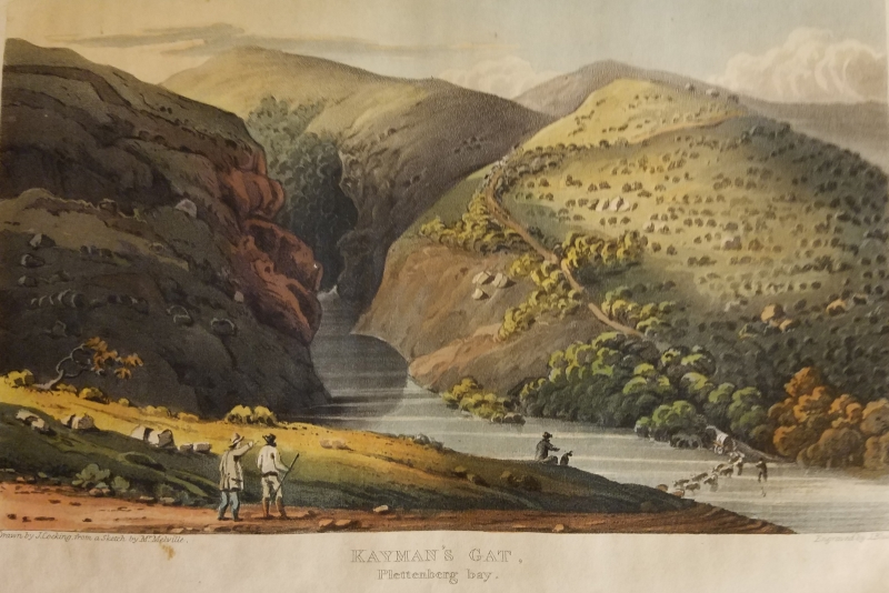 Latrobe, Christian. Journal of a Visit to South Africa in 1815 and 1816. London: L.B. Seeley and R. Ackermann, 101 Strand, 1818. Kayman's Gat [Crocodile's hole], Plettenberg Bay.