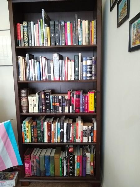 LCP Cataloger Em Ricciardi's book shelf arranged with the Library of Congress system
