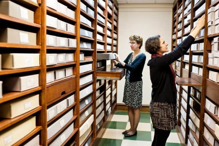Sarah Weatherwax, Curator of Print and Photographs and Erika Piola, Associate Curator of Prints and Photographs and Co-Director of the Visual Culture Program in Print Department storage.