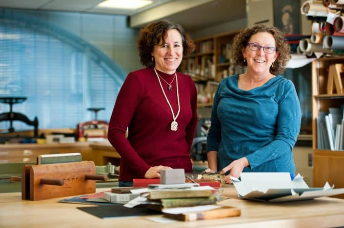Andrea Krupp and Alice Austin, Conservators, in the McLean Conservation Center.