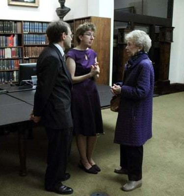 Louise Beardwood talking to Sarah Weatherwax and William Bucher at Library Company event, ca. 2010.