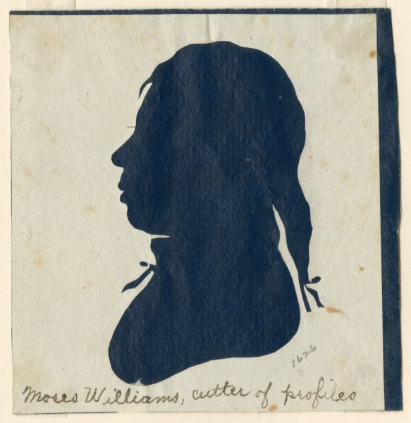 """Moses Williams (or Raphaelle Peale), """"Moses Williams, Cutter of Profiles,"""" ca. 1803. Silhouette."""