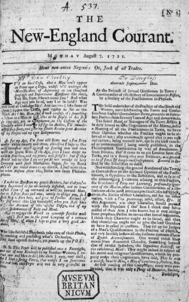 The New-England Courant. Boston: James Franklin, August 7, 1721.