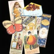 Collage of trade cards from the William Helfand Patent Medicine Trade Card Collection.