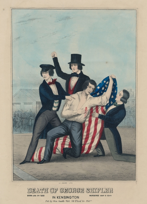 John L. Magee, Death of George Shifler in Kensington. Born Jan 24 1825. Murdered May 6 1844 (Philadelphia: William Smith, after 1850). Hand-colored lithograph.