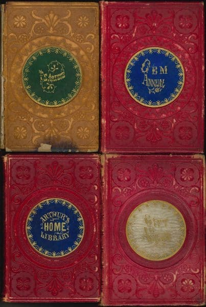 Bindings with paper onlay titles, 1856-1858.