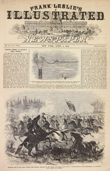 Depicts the front page of Leslie's Illustrated Newspaper.