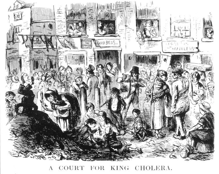 "Cartoon depicting squalid conditions with the caption ""A Court for King Cholera"" from Punch (1852)."