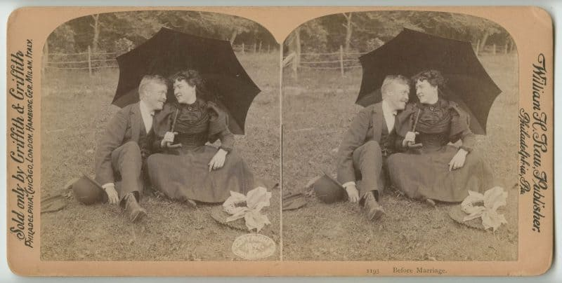 William Rau. Before Marriage, albumen print stereograph, 1897. The Library Company of Philadelphia. Gift of Sandra Markham.