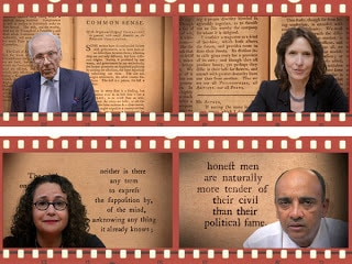 Film stills from Thomas Paine: Revolution in America by Rick Feist (Clockwise from top left: Lewis Lapham, Katrina vanden Heuvel, Kwame Anthony Appiah, Brooke Gladstone)