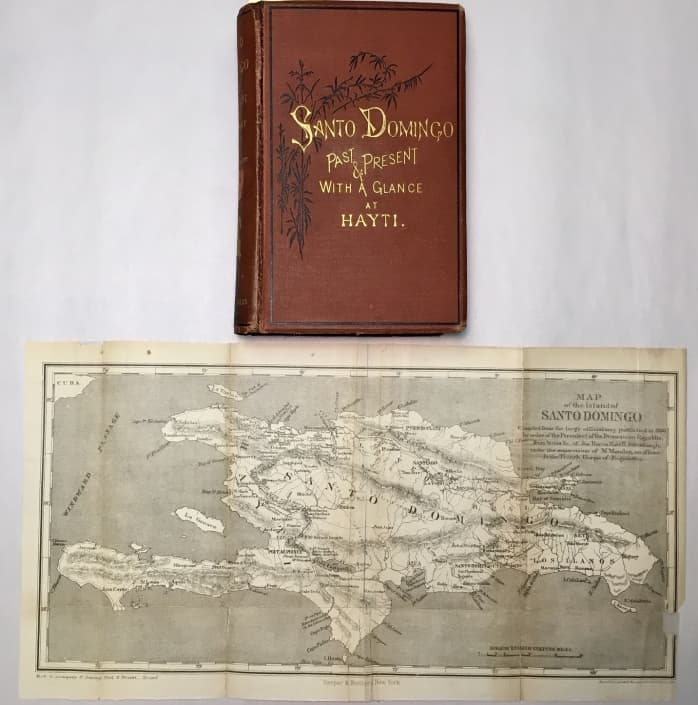 Front cover and map from Samuel Hazard's Santo Domingo, Past and Present: With a Glance at Hayti (1873).