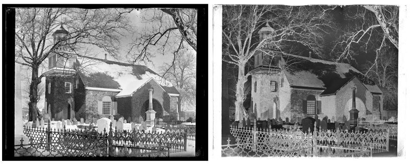 Marriott C. Morris, Old Swede's Church Wilmington. From 6th St. Snow on Ground. 1883.