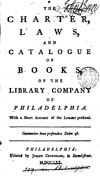 "Cover, ""The Charter, Laws, and Catalogue of Books, of the Library Company of Philadelphia. With a Short Account of the Library Prefixed."""