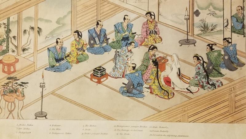 Titsingh, Isaac. Illustrations of Japan. London: R. Ackerman, 101 Strand, 1822. Illustration of a wedding.