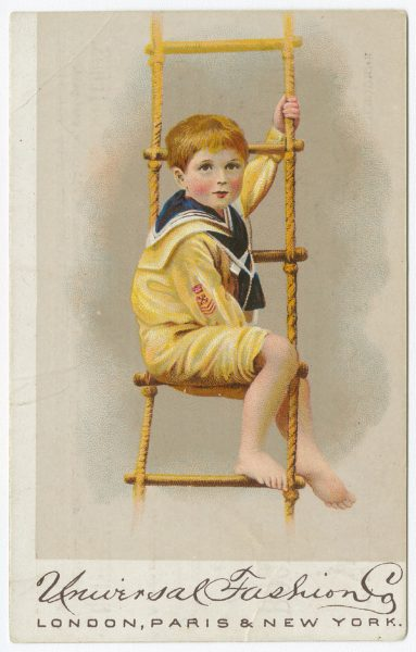 Universal Fashion Co. Trade Card, c. 1882. A child with short hair wears a yellow sailor suit.