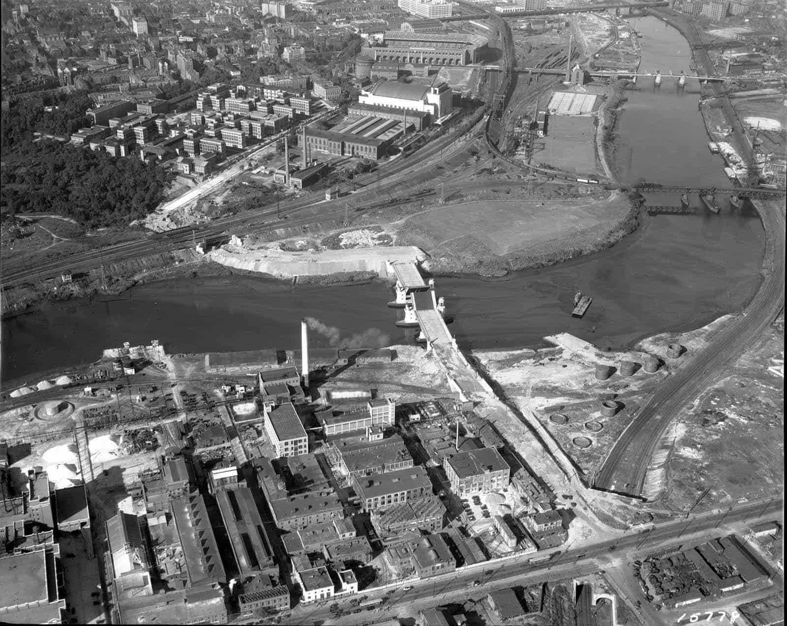 University Avenue Bridge under construction, connecting the Grays Ferry and West Philadelphia neighborhoods, Philadelphia. 1932.