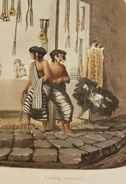 Vidal, Emeric. Picturesque Illustrations of Buenos Ayres and Monte Video. London: R. Ackermann, 101 Strand, 1820. Balling Ostriches. Pampa Indians.