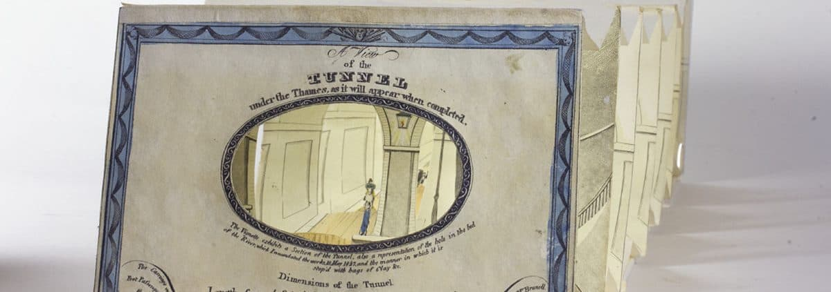 Oblique view of extended tunnel book A View of the Tunnel under the Thames, as it will Appear When Completed  (London: S. E. Gouyn, 1828).