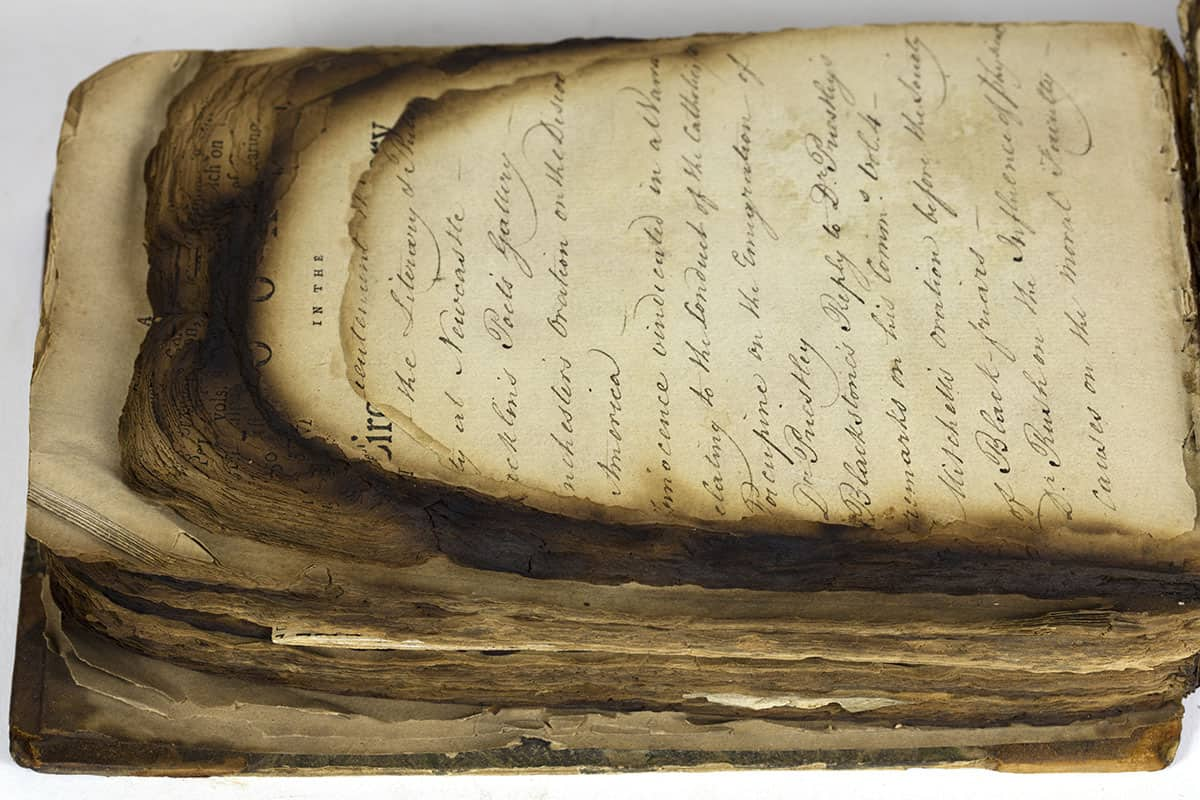 Books in the Circulating Library at Leeds. Leeds: James Bowling, 1790. Am 1792 Win Log. 1849.O.1. This book has a number of pamphlets bound together. A large portion of the tops of the pamphlets have been burnt away.