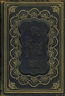 "Full calf, ""sunk panel"" on The Iris: An Illuminated Souvenir for 1851. Philadelphia: Lippincott, Grambo & Co., 1851."