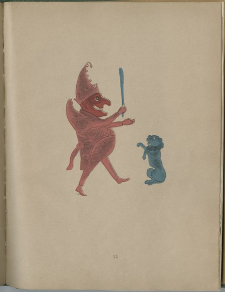 Illustration from Spectropia depicting a red devil and blue dog. The devil holds a blue staff.