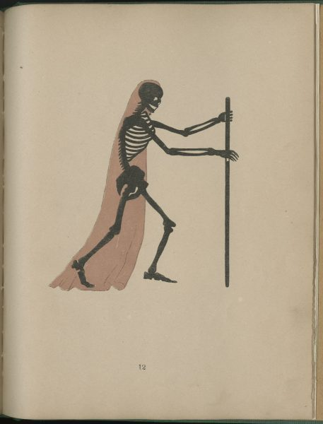 Illustration from Spectropia depicting a skeleton holding a staff.