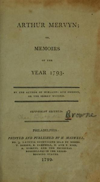 Title page from Arthur Mervyn. (Philadelphia, 1799).