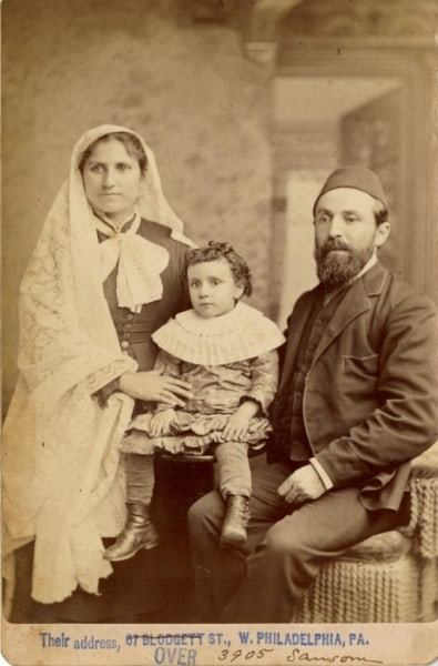 1885 cabinet card showing the Barakat family