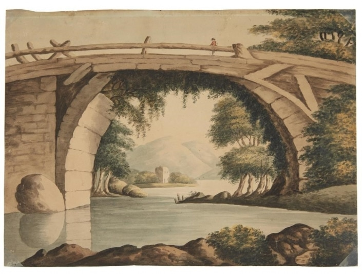 Miss Barton, Unidentified landscape, early 19th century. Watercolor.