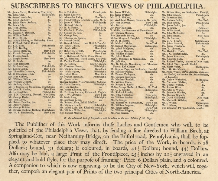 Subscribers to Birch's Views of Philadelphia, [1800].