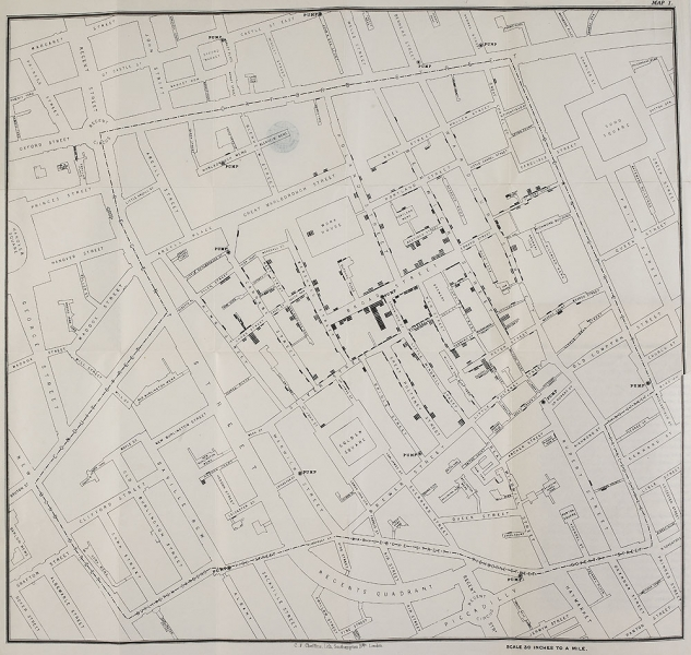 John Snow's cholera map, a pioneering work of data visualization which convinced local council to famously remove the handle from the water pump, ceasing the outbreak.