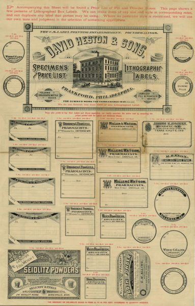 David Heston & Sons, Frankford, Philadelphia. Specimens and Price List, Lithographic Labels. (Philadelphia, ca. 1890). Lithograph.