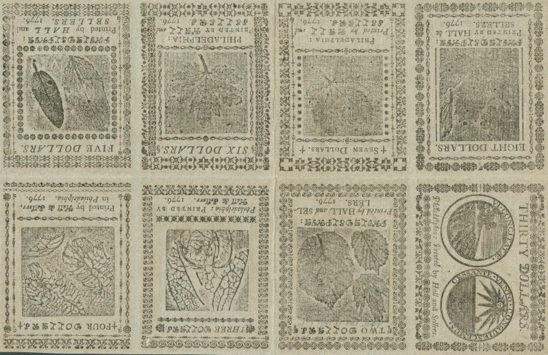 Undivided sheet of Continental Currency, printed on blue paper for use as a counterfeit detector(Philadelphia: Printed by Hall and Sellers, 1776).