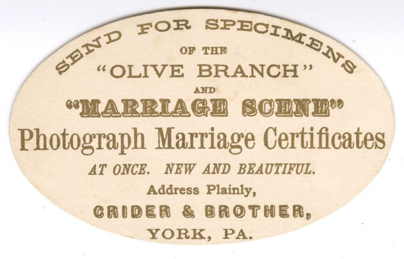 """""""marriage scene"""" trade card/caption: Send for Specimens of the """"Olive Branch"""" and """"Marriage Scene."""" … Address Plainly Crider & Brother, York, Pa. (York, Pa., ca. 1880). Lithograph with gilt."""
