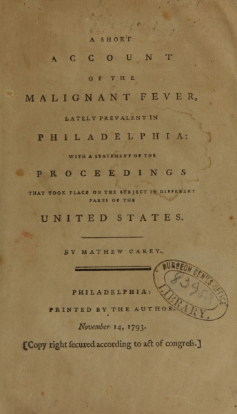 Title page from A Short Account of the Malignant Fever lately prevalent in Philadelphia