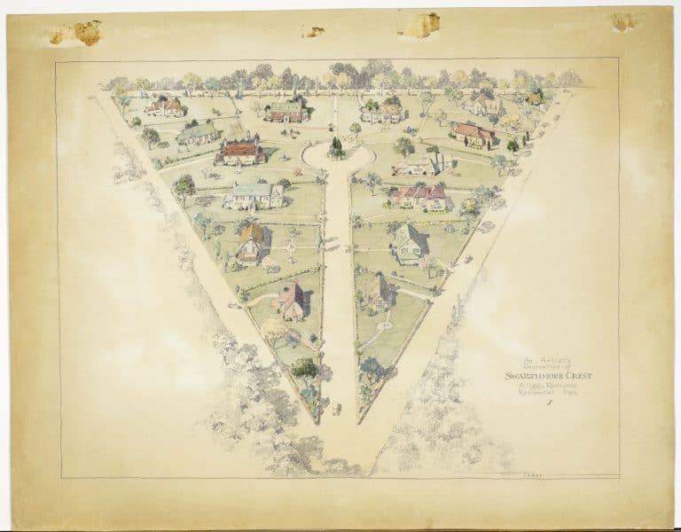 Donald C. Taber, An Artist's Conception of Swarthmore Crest. A Highly Restricted Residential Park, ca. 1930. Pencil and watercolor.