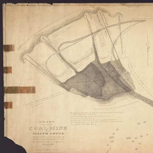 Draft of the Great Coal-Mine near Mauch Chunk exhibiting the various branches of the rail- road leading from it, and the situation of the workings on the 18th of July, 1827. Courtesy of Lehigh University.