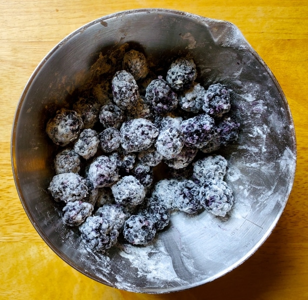 Blackberry dredged in flour