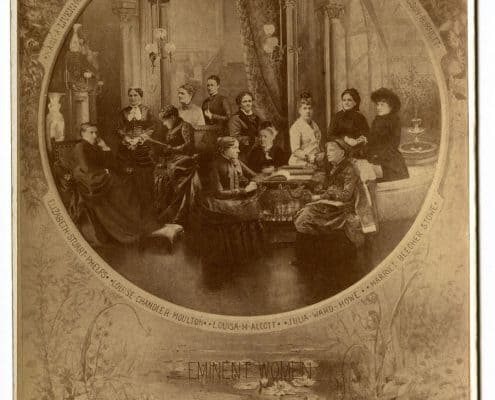 "A manipulated photograph depicting twelve women writers seated together. ""Eminent Women,"" P.2016.73"