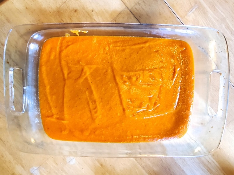 Carrot pudding ready to go in the oven